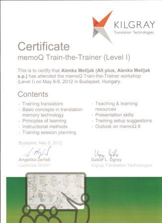 Alt plus memoQ Certified Trainer