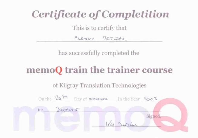 Alt plus memoQ Certification